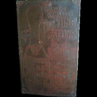 Circa 1906 Brass Brunswick -Balke-Collender Bowling Alley Sign