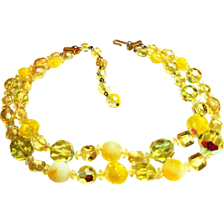 Signed Hattie Carnegie Two Strand Yellow Crystal & Art Glass Necklace c. 50