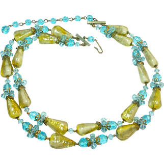Outstanding Double Strand Art Glass & Crystal Necklace c. 1950
