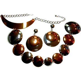 Trifari Space-Age Mod Runway Couture Necklace & Earrings in Rare Two Tone c. 1960
