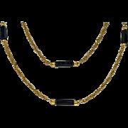 Stylish 18K black Onyx Necklace Chain, 20th century.