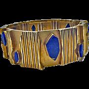 Archibald Dumbar 18K Lapis lazuli bracelet cuff, Amsterdam C.1970