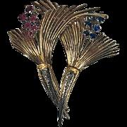18K Sapphire, Ruby and Diamond Retro Brooch, Italy C.1950.