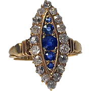 Antique Sapphire and Diamond 18K navette shape cluster Ring, English C.1896.