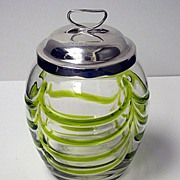 Art Nouveau silver and glass Honey Pot, Birmingham 1906
