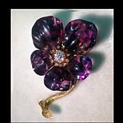 French Carved Amethyst Diamond Flower Brooch C.1880