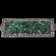 18K carved Jadeite Jade and Diamond Brooch.
