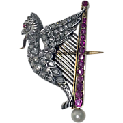 French Griffin and Harp Ruby, Diamond, Pearl and 18K Brooch, C.1890