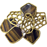English 18ct, Diamond and Tigers Eye Pendant pendant brooch, Hallmark 1972