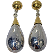 Rare pair of Walter Schluep 18K Sterling Silver Earrings