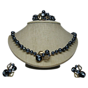 Set of 3 Necklace, Bracelet, Earrings Signed Gunmetal Grey Faux Pearls/Art Glass Beads Vintage Set