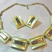 Yellow & Gold Lucite Necklace & Earrings Vintage Set