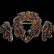 Vintage  Brooch & Earrings Set Art Glass Rootbeer & Aurora Borealis Rhinestone Fall