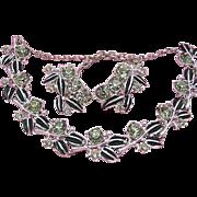 Vintage SET Necklace & Earrings Signed Tara Black Enamel & Smoky Rhinestone Silver Tone  SET