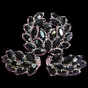 Vintage Demi-Parure Set Signed B. David Dainty Black Navette Rhinestone Brooch, Earrings