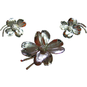 Signed HSB Vintage 925 Sterling Silver Dainty Dogwood Pin & Earrings Set