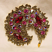 Signed Set Emmons Vintage Demi-Parure Red AB Rhinestone Brooch/Pin/Earrings Gold Tone