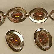 Vintage Showy Bracelet & Earrings Cognac/Topaz Demi-Parure Set Gold Tone