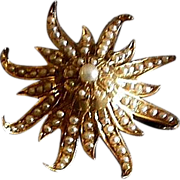Victorian Sun Burst Brooch/Pendant - 14K Gold
