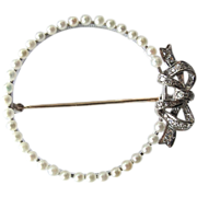 Natural Pearl and Diamond Set Brooch, 14K - Circa 1900