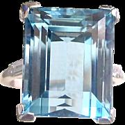 Art Deco Aquamarine and Diamond Ring - 13.28 Carat,  Platinum