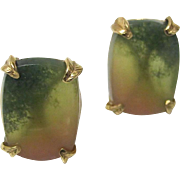 Fine Watermelon Tourmaline Earrings, 14K - Vintage