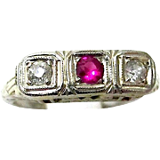 Art Deco Trilogy Ring - 14K White Gold