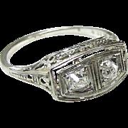 Art Deco Two Diamond Ring, 18K White Gold
