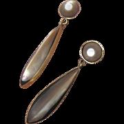 Abalone, 9 Carat Drop Earrings - Vintage