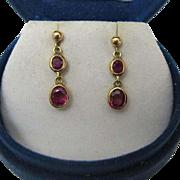 Beautiful 1.70 carat Ruby Drop Earrings - Circa 1930-1940, England