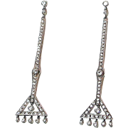 Exceptional 2.5 inch Art Deco Diamond Earrings - Platinum