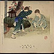 "SHUNTEI MIYAGAWA (1872-1914) ""Children Playing"" Meiji Period Original Woodblock Print"