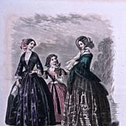 #329 MAISONS DE PREMIER ORDRE A PARIS - 1880s Hand  Colored Engraving by Jules David for Le Moniteur de la Mode, Rue Richelieu 92 a' Paris