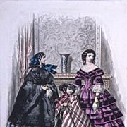 #510 'TOILETTES' 'ROBES' 'COSTUMES d'ENFANTS - 1880s Jules David Hand Colored Engraving for 'Le Moniteur de la Mode' Paris