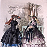 #496  'MODES'  'TOILETTES'  'FLEURS ET PLUMES' - 1880s Jules David Hand Colored Engraving for 'Le Moniteur de la Mode' - Paris
