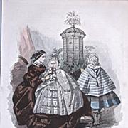 1858 LES MODES PARISIENNES 'Robes de la Mon. Fauvet - Hand Colored Lithograph #783