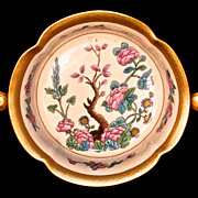 PICKARD  Oriental Ming Tree Design Footed Bowl - 24K Gold Trim
