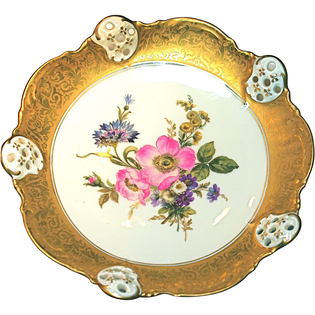 ROSENTHAL  Floral Footed Reticulated Dish - Selb Bavaria - Heavy 20 Karat Gold Trim