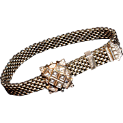 Victorian Mesh Slide Bracelet with Tiny Baroque Seed Pearls -  9-Karat Heavy Gold Plate