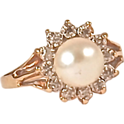 DIAMOND & PEARL RING - Cultured Pearl Surrounded by 12 Small Diamonds