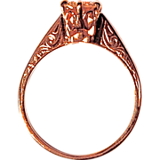 DIAMOND RING - Old Beautifully Etched Gold Setting