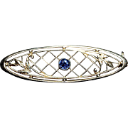 14K Gold Natural Blue Sapphire Bar Pin-Krementz