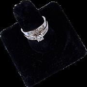 WEDDING RING SET - 1.20 CTW Diamond 14K White Gold Engagement Ring & Wedding Band