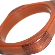 Square Caramel Bakelite  Bracelet/Bangle - Wood Corners