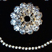WEISS - Blue Rhinestone Set: Sweater Guards -& Brooch/Pin - Signed