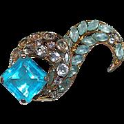 "Large 3"" Signed Vogue Unfoiled Blue Topaz & Clear Crystal  Brooch"