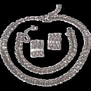 EISENBERG PARURE - Emerald Cut Crystal Rhinestone  Bracelet - Necklace - Clip-Ons