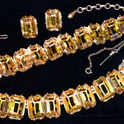SCHIAPARELLI 1930s Parure - Large Emerald-Cut Citrine Crystal Necklace, Bracelet & Clip-On Earrings