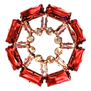 JAY KEL Pink Gold Vermeil Brooch with Cranberry Red & Clear Unfoiled Crystal Stones
