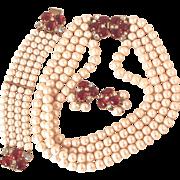 SCHIAPARELLI  Ruby and Pearl Parure - Necklace, Bracelet  & Clip On Earrings